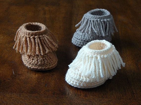 Baby Boots : Short Moccasin Boots, Fringe Boots *You Choose Color* Newborn-3 Months, 3-6 Months, 6-12 Months, 12-18 Months