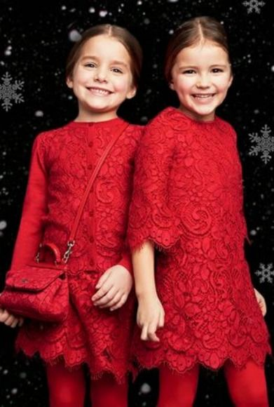 Christmas dresses for girls from Dolce and Gabbana Childrenswear - Dolce&Gabbana Red Lace
