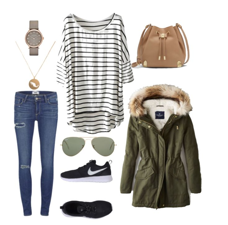 Get the look! Winter days, furry coats, ray-bans and nike shoes, the perfect outfit for a causal day in town.