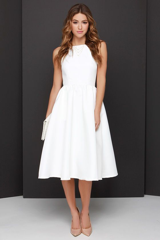 This one is one of my favorites, Isamar!  Lead a Charmed Life Ivory Midi Dress at Lulus.com!