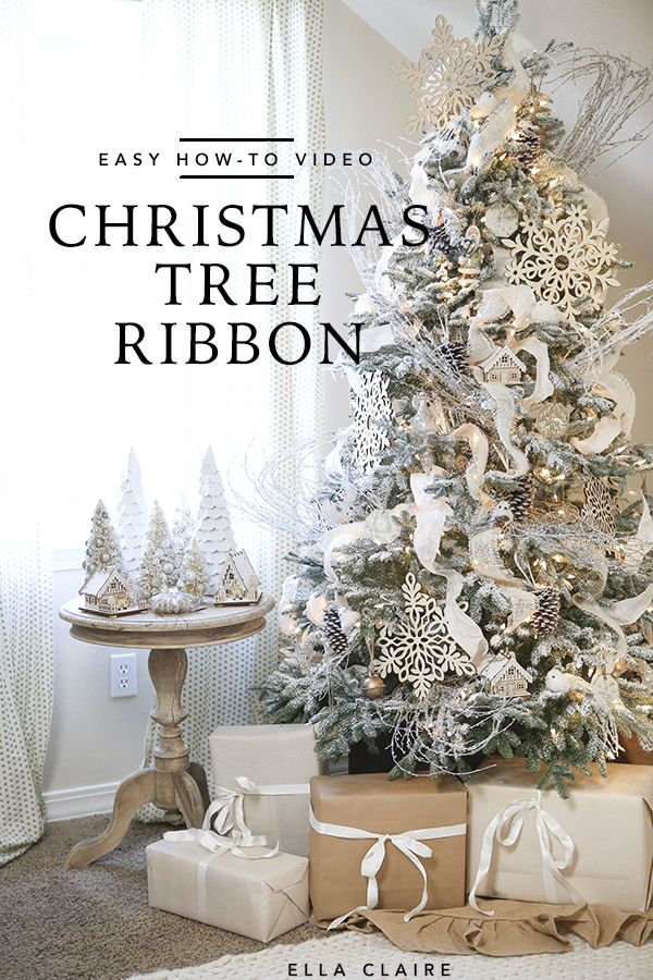 The Best Christmas Tree Ribbon Tutorial Video Ella Claire Ribbon On Christmas Tree Cool Christmas Trees Beautiful Christmas
