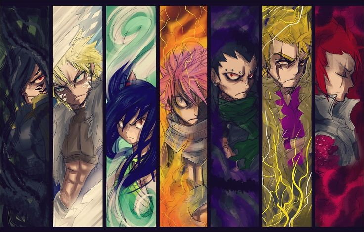 Fairy Tail - Rogue, Sting, Natsu, Gajeel, Laxus, Cobra and Wendy - Dragon Slayer DO YOU GUYS REMEMBER NOTHING? Only 5/7 are Dragon Slayers in this photo. If you guys can't figure it out... Are you really a Fairy Tail fan? Lol jk but seriously. -3- to support my evidence and to give a hint. Those who have a FLYING/TALKING CAT is a Dragon Slayer. I have more hints but ehh one hint. *shrugs*