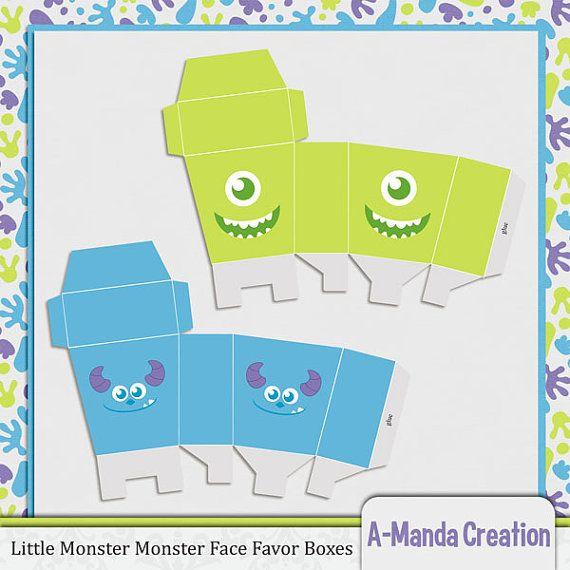 Monster Monster cara fiesta Favor cajitas por AmandaCreation, $4.50