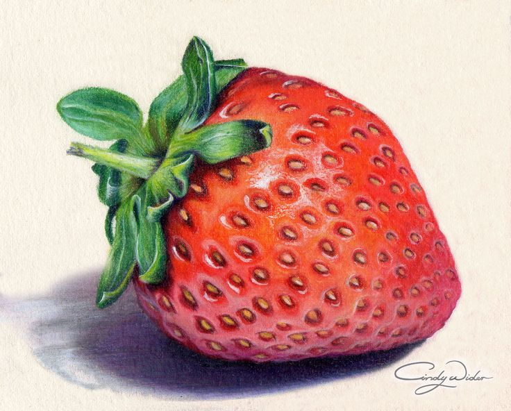 This strawberry was created with Prismacolour Pencils on Waterford Saunders cold press 300lb paper yummo! I particularly enjoyed drawing the the leaves.