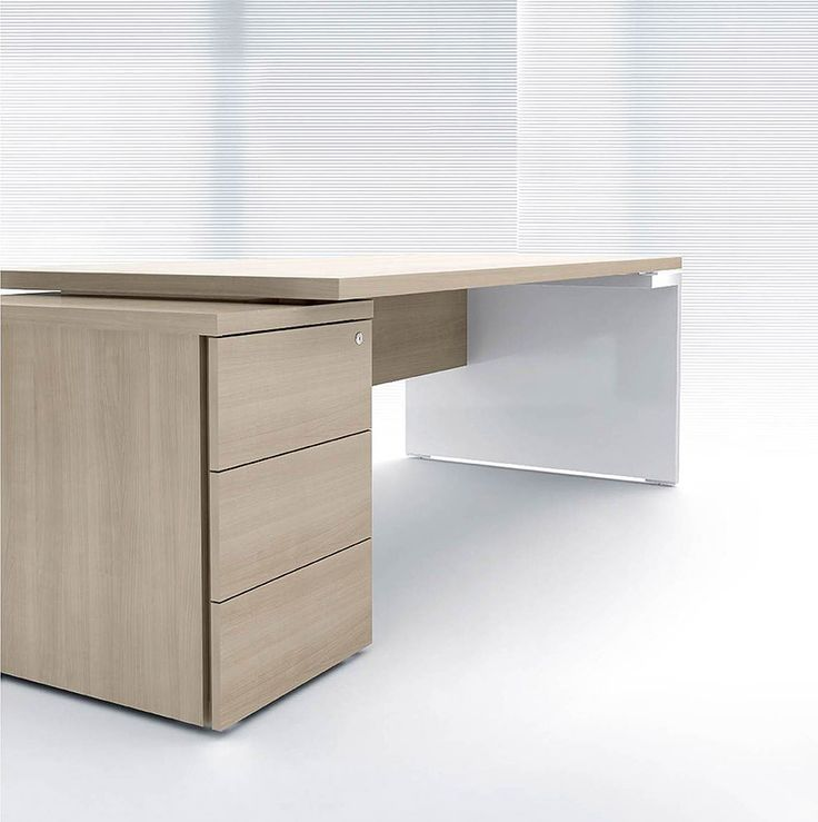 ultra modern executive desk in white and light colored wood