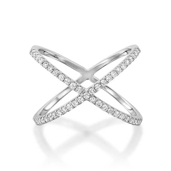 X Diamond Ring White Gold Diamond Ring Modern Ring Crossing