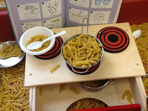 Invitation to cook pasta-recipe book, pasta, pots, pans, bowls, spoons & an…