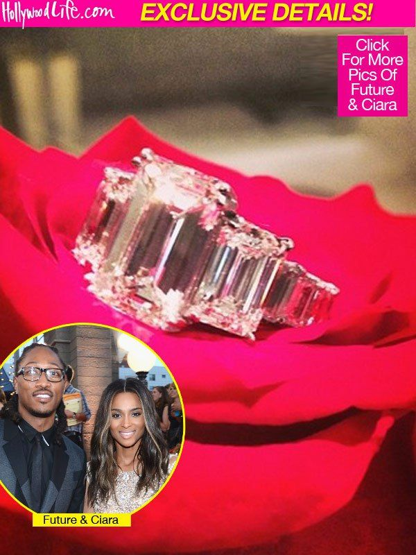 Ciara's engagement ring features an 8 carat emerald-cut center with two larger emerald-cut side diamonds and graduated diamonds down the shank. Ciara got engaged to rapper Future early in 2014. #celeb #engagement
