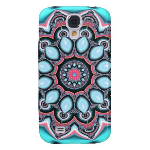 Unique, trendy and pretty Samsung Galaxy S4 case. Beautiful pink, lavender violet, purple and turquoise teal green blue flower kaleidoscope mosaic fantasy pattern. Summery, colorful, ornate geometric floral design for the hip trend setter, modern motif or vintage retro art deco and nouveau decor lover. Cute and fun birthday present or Christmas gift. Classy, chic, original and cool phone cover for the girly girl or woman. Also for the S2 S3, iPhone 3 4 5, Droid Razr, iPod Touch, iPad and…