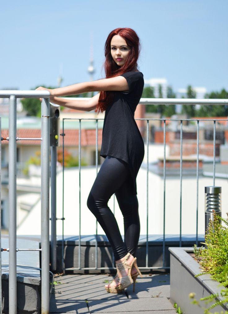 Fashion Blogger, Outfit, Black, Leather Leggins, High ...