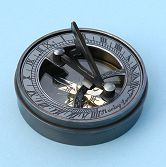 Small Brass Pocket Sundial with Antique Patina and Lid