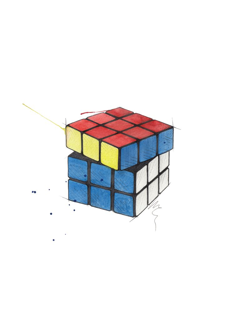 """Rubiks kube"" (Rubik's Cube)  Copyright: Emmeselle.no   illustration by Mona Stenseth Larsen"