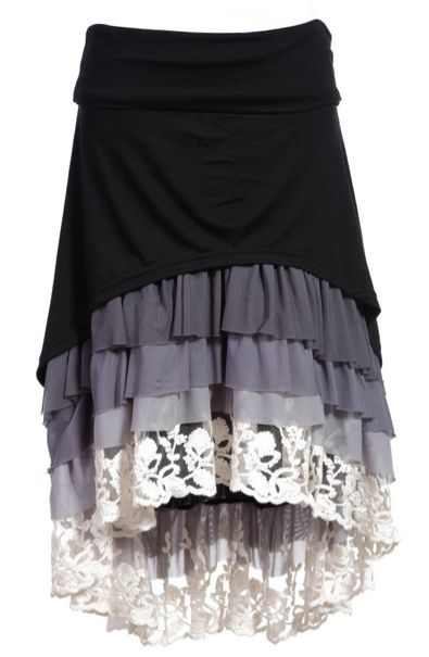 Dainty Jewell's Ruffle Hi-Low skirt-! Love this website for modern modest clothing! Www.daintyjewells.com