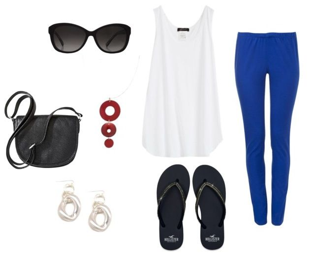 What to Wear with Royal Blue Leggings - paired with a funky red pendant.