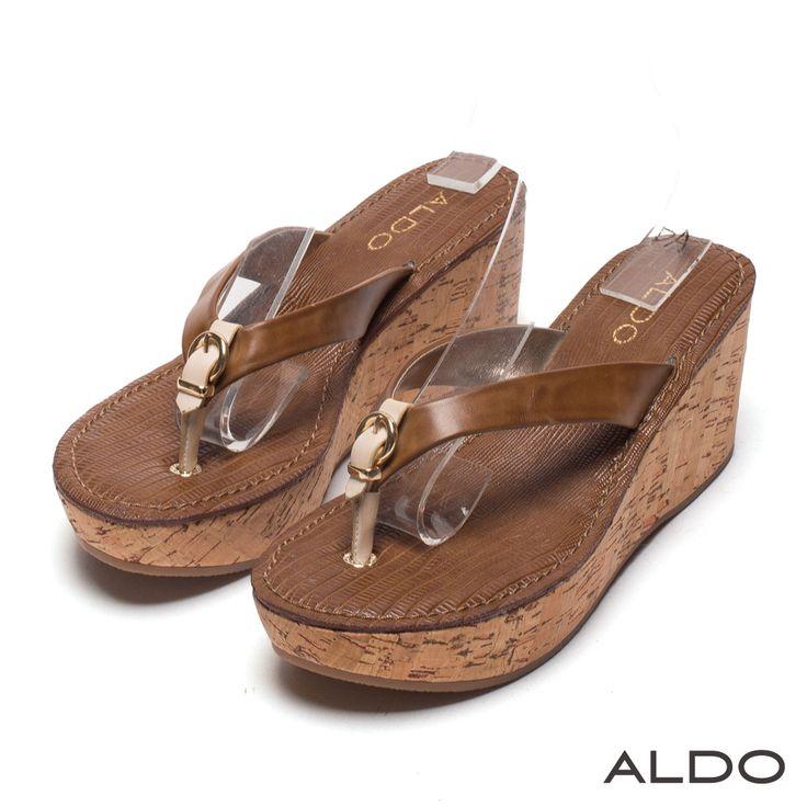ALDO 異國度假風蛇紋金屬釦環厚底夾腳涼鞋~咖啡印花 - Yahoo!奇摩購物中心