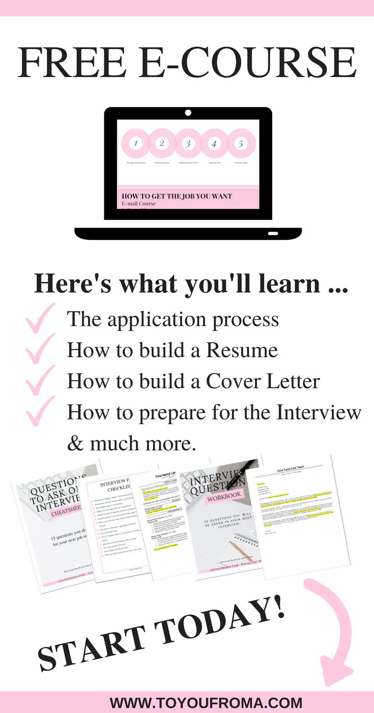 Want to be 100% ready when landing your next job? This 5 day FREE e-course teaches you everything you need to know from the application process, creating your Resume, Cover letter, interview preparation and what to really wear to the interview PLUS much more. Start your journey today! #careeradvice
