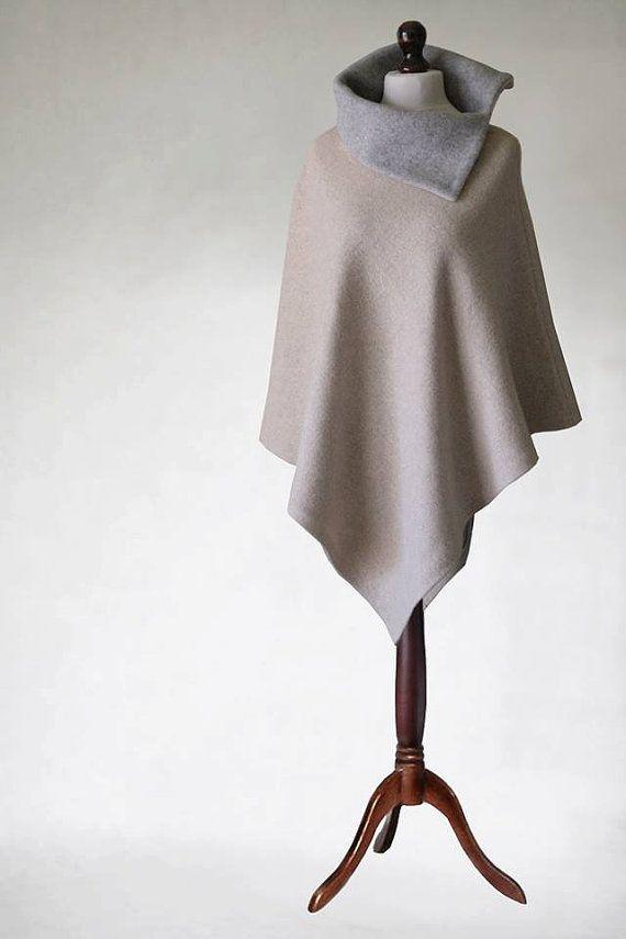 Wool coat Womens cape womens coat womens poncho by KnitwearFactory