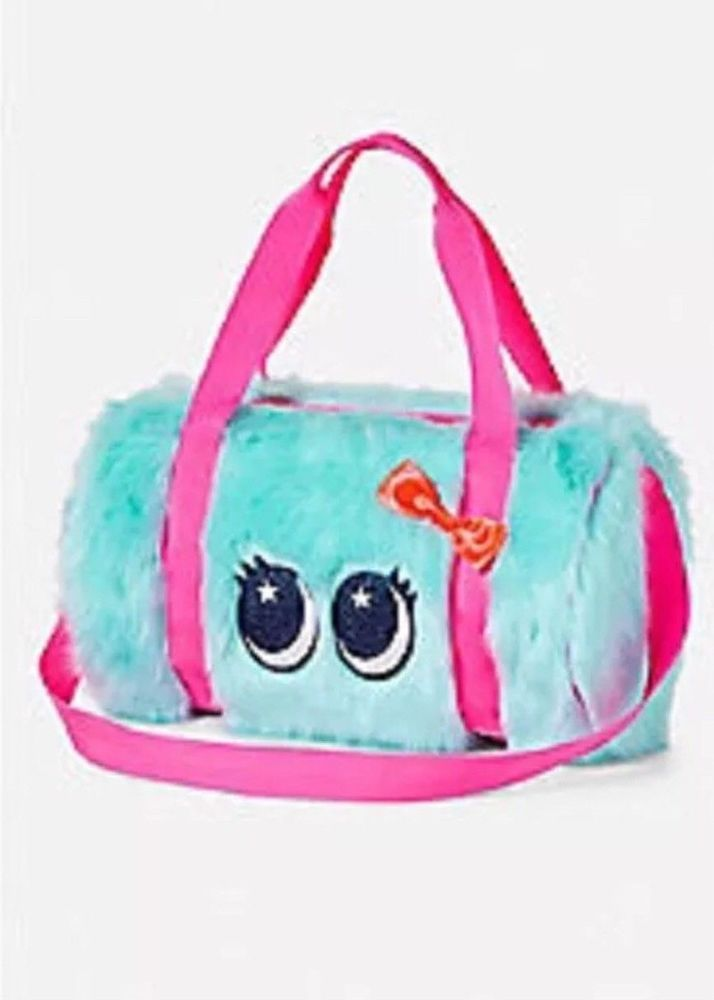 JUSTICE Girls Monster Duffel Duffle Bag Travel Gym Dance Blue FUZZY New   Justice  DuffelBag 40e66a3598