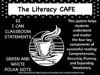 This system helps students understand and masterthe four key components of successful reading:Comprehension, Accuracy, Fluency, and Expanding Vocabulary.Decorate your classroom with the Literacy CAFE Board * 4-8x11 Letter posters spelling C A F E* 22 I can statement sentences