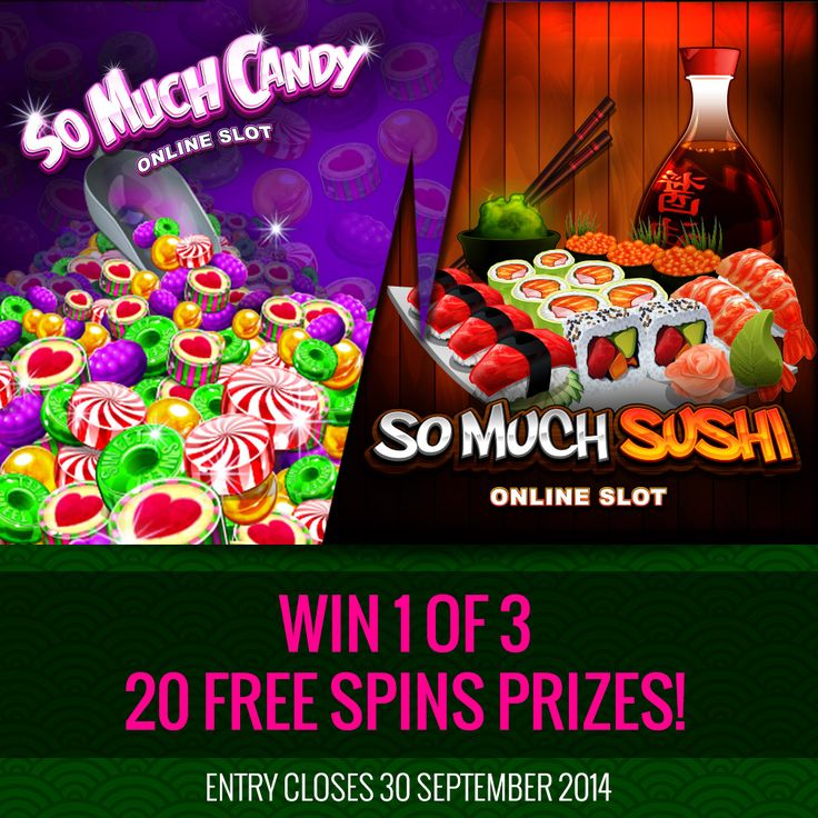 Have you got a sweet tooth or do you prefer your local sushi bar?   The battle between So Much Sushi and So Much Candy is on!   Take part in our Facebook promo and stand a chance to win 20 Free Spins. Vote for your favourite here: http://woobox.com/3tks32
