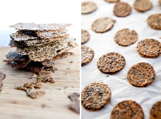 Gluten-Free Crackers (brown rice & quinoa are processed until it becomes a sticky dough, then sesame seeds, flaxseeds, chia seeds and salt are added)