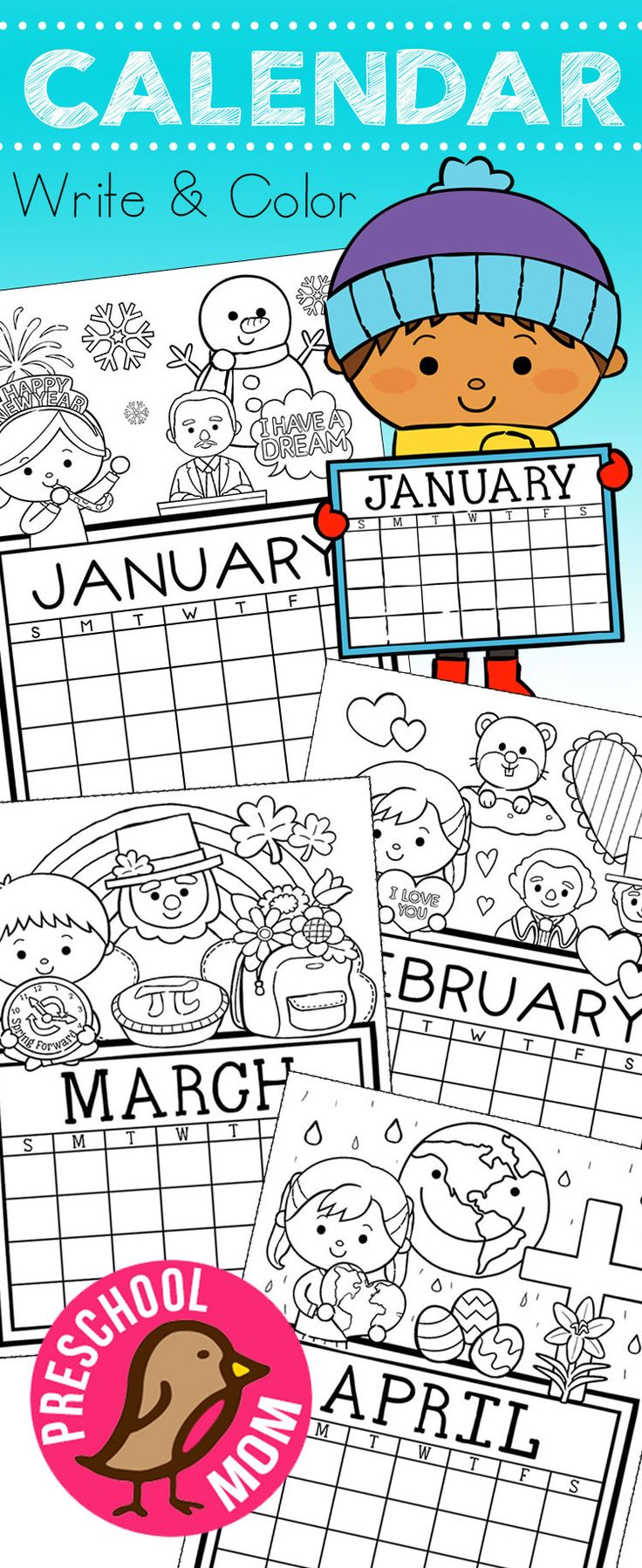 How Cute R These!? Free 12-Month set of Calendar for students to Write and Color. This set is super cute and features monthly themes and holidays. via @prekmoms