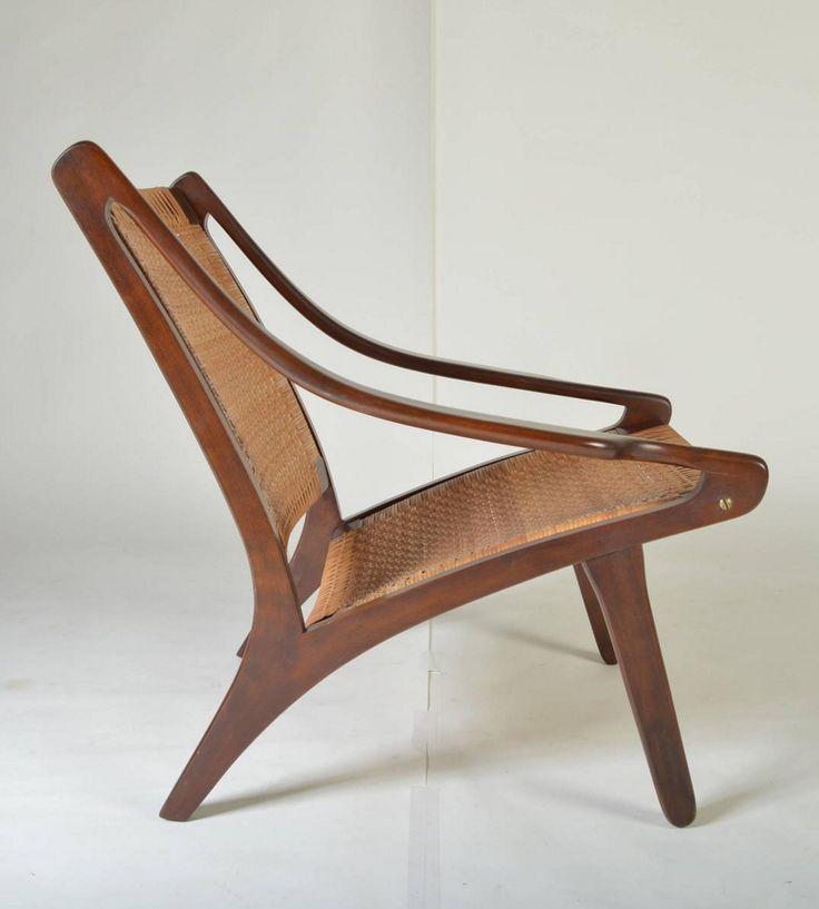 Ib Kofod Larsen; Walnut And Cane Easy Chair, 1950s.