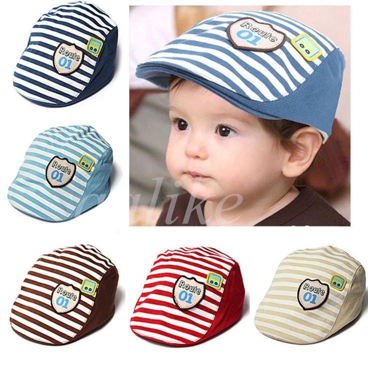 de6c8aaf cute baby infant boy girl stripes cotton baseball cap peaked beret hat caps  nike wholesale hats