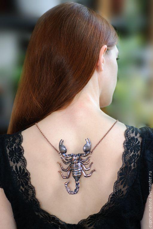 """Купить Кулон """"Скорпион"""" (гальваника, украшение ручной работы) - черный, готика, готический стиль, скорпион"""