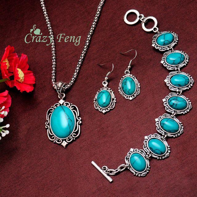 Женщин старинные ретро посеребренная овальном бирюзовый камень ожерелье браслет серьги ювелирных изделий подарки бесплатная доставка