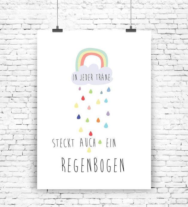 Süßes Poster mit Regenbogen für Deine Motivation / cute motivation artprint with rainbow made by  MilaLu via DaWanda.com