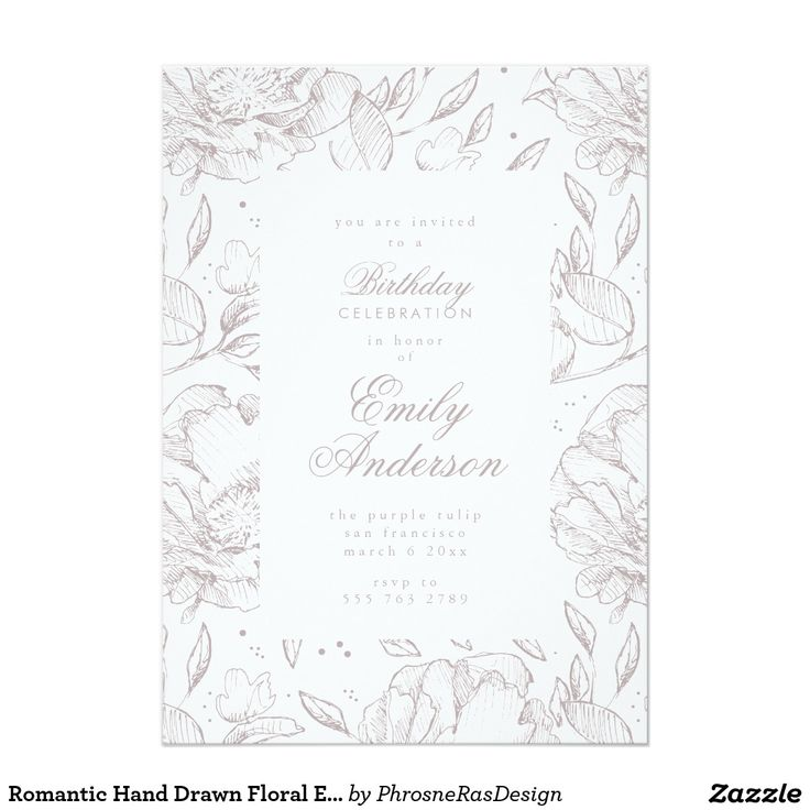 Romantic Hand Drawn Floral Elegant Invitation #zazzle #floral #illustration #sketch #phrosnerasdesign #phrosneras #stationery #party #invite #romantic #elegant #wedding
