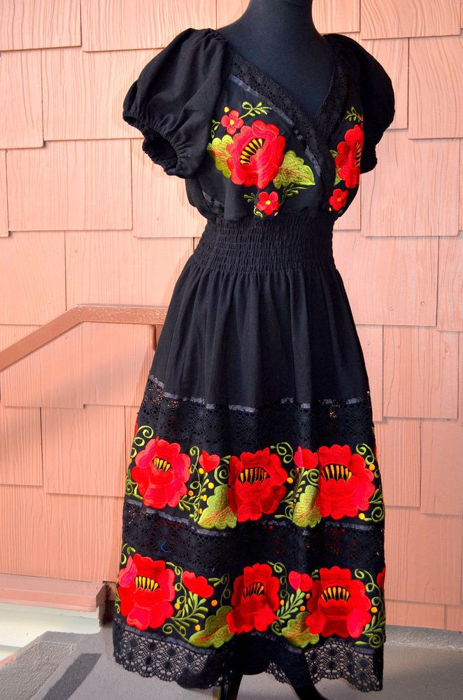 Details About S M L Mexican Dress Double Embroidered With