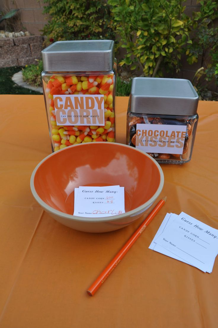 "Halloween party games: Pin-the-Nose-on-the-Pumpkin, doughnut eating on strings, and ""Who-Can-Guess-How-Many-Candies-Are-In-Each-Jar"" (winners take home the jar) :: Blonde Designs Blog"