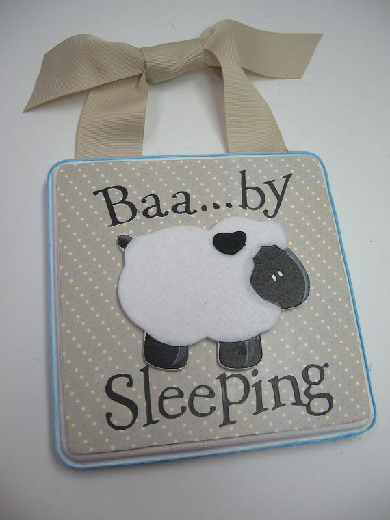 Baby Lamb Nursery Door HangerBaby Sleeping by RibbonMade on Etsy, $25.00