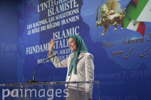 Maryam Rajavi, President-elect of the Iranian Resistance, gestures as she speaks at an international conference in Paris on the 36th anniversary of the February 1979 revolution in Iran.