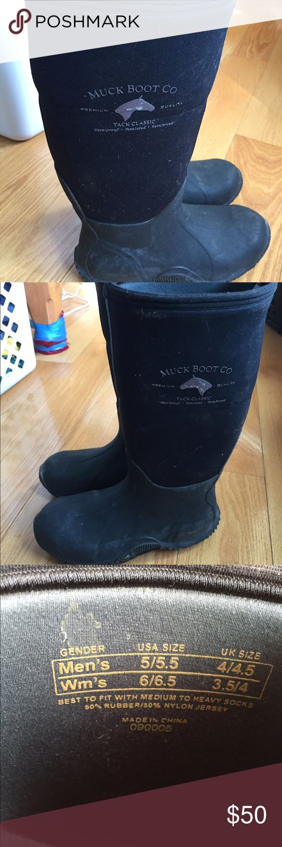 Muck boots tack classic Muck boots knee high tack classics. In good condition other than having a few stains no rips or tears. Waterproof, insulated boots size 6-6.5 women's muck Shoes Winter & Rain Boots