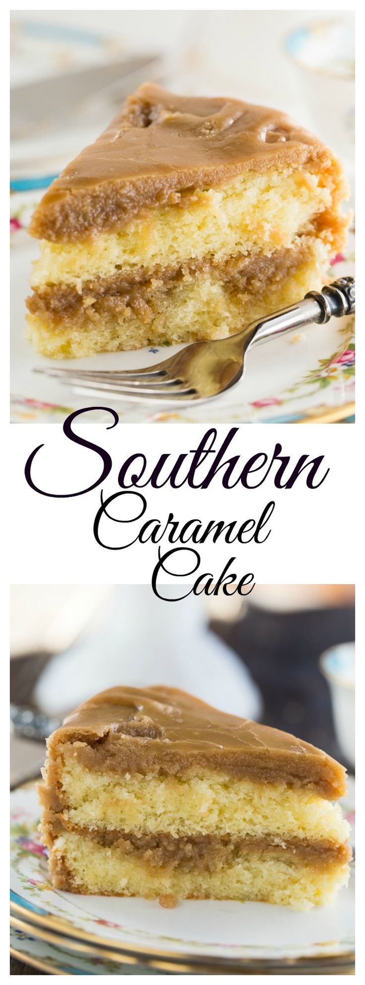 Southern Caramel Cake - 2 layers of moist yellow cake covered with a super sweet caramel icing.