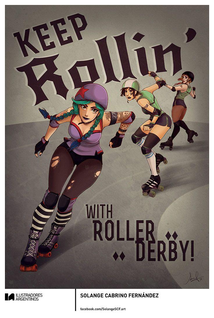 Roller skating rink jakarta - Solange Cabrino Fern Ndez Ilustraci N Para La Muestra Roller Derby De Ilustradores Argentinos