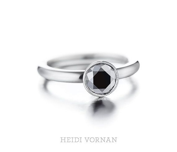 Handmade platinum solitaire ring with black by HeidiVornan on Etsy