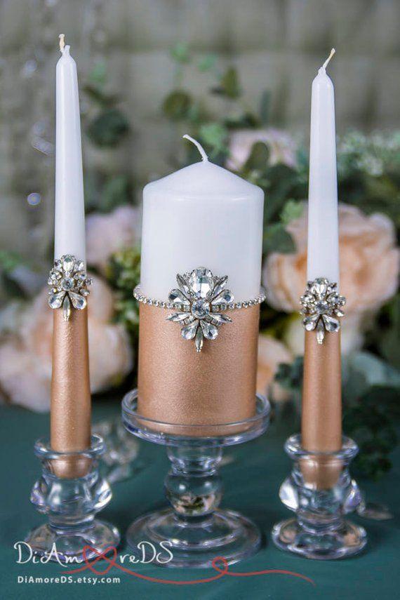 Rose Gold Wedding Unity Candle Set Silver Wedding Candle