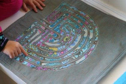 Fabric finger labyrinth: fine and visual motor, calming. This site has a lot of beautiful ideas.