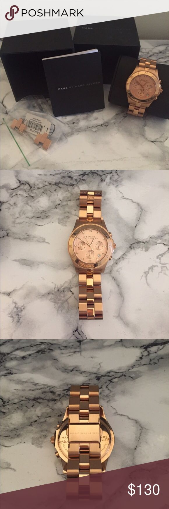 Marc Jacobs Watch Woman's Rose Gold, big face watch , excellent condition worn a few times, needs a new battery, comes with box and information booklet, extra links, NO TRADES Marc by Marc Jacobs Jewelry