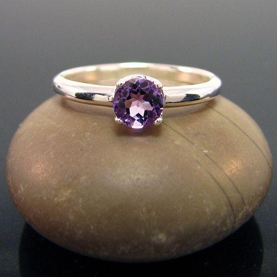 genuine amethyst ring Amethyst Ring silver by MismatchedEarrings