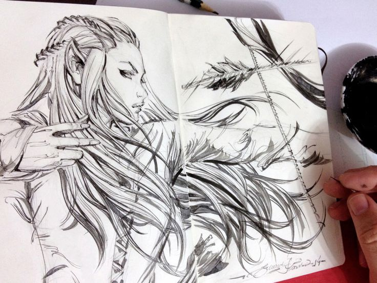 Sketch, Tauriel by eDufRancisco on @DeviantArt