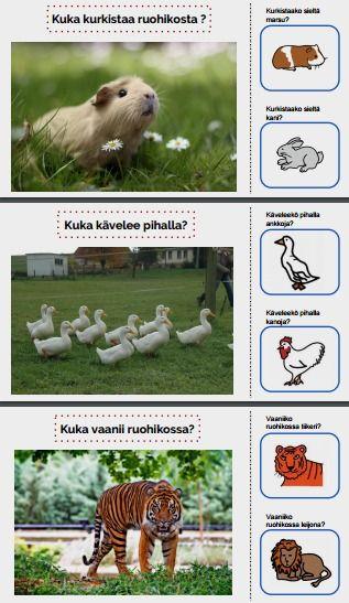Tarinassa tunnistetaan eläimiä sekä paikkoja joissa niitä voi tavata.