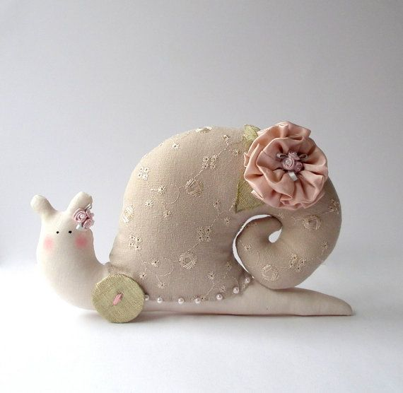 Stuffed animal toy Snail handmade plush toy by CherryGardenDolls, $25.00