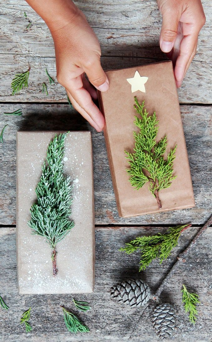Beautiful & super easy DIY Christmas gift wrapping ideas, using upcycled brown p…