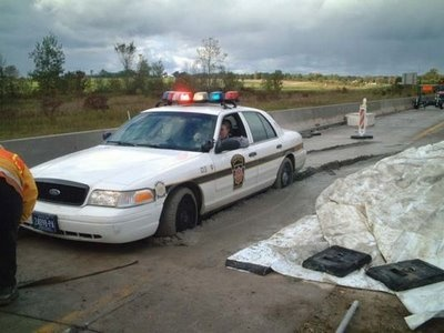 Police cruiser stuck in fresh cement. Oops! #funny #fail. #funny mistake. #humor. #fail