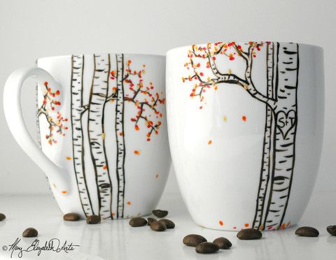 Birch Tree Personalized Mugs. Hand Painted by Mary Elizabeth Arts